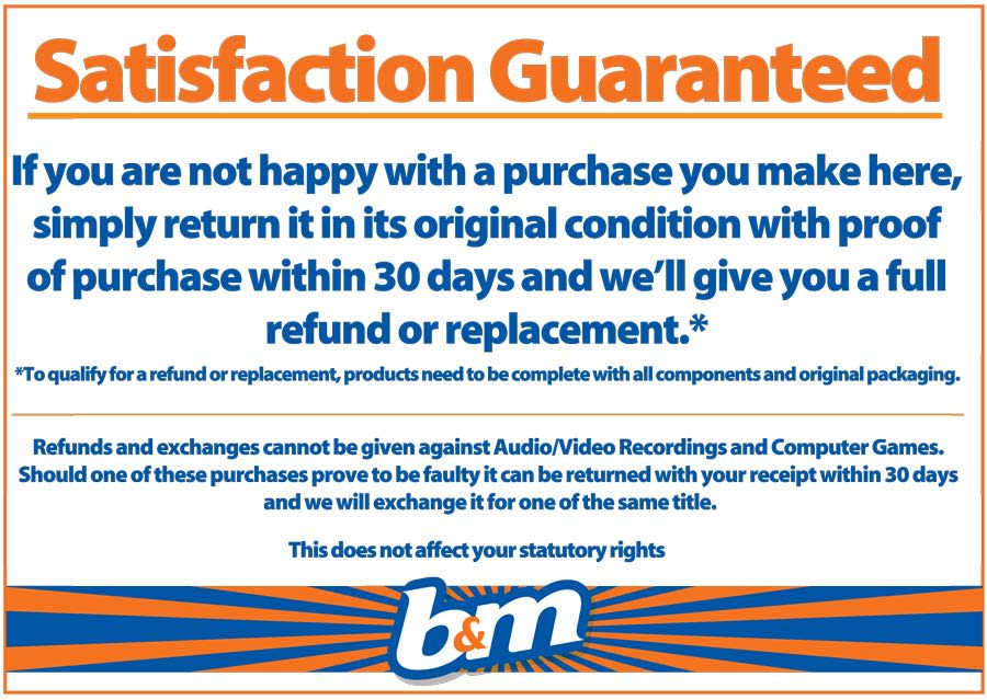 B&M Retail Return Policy