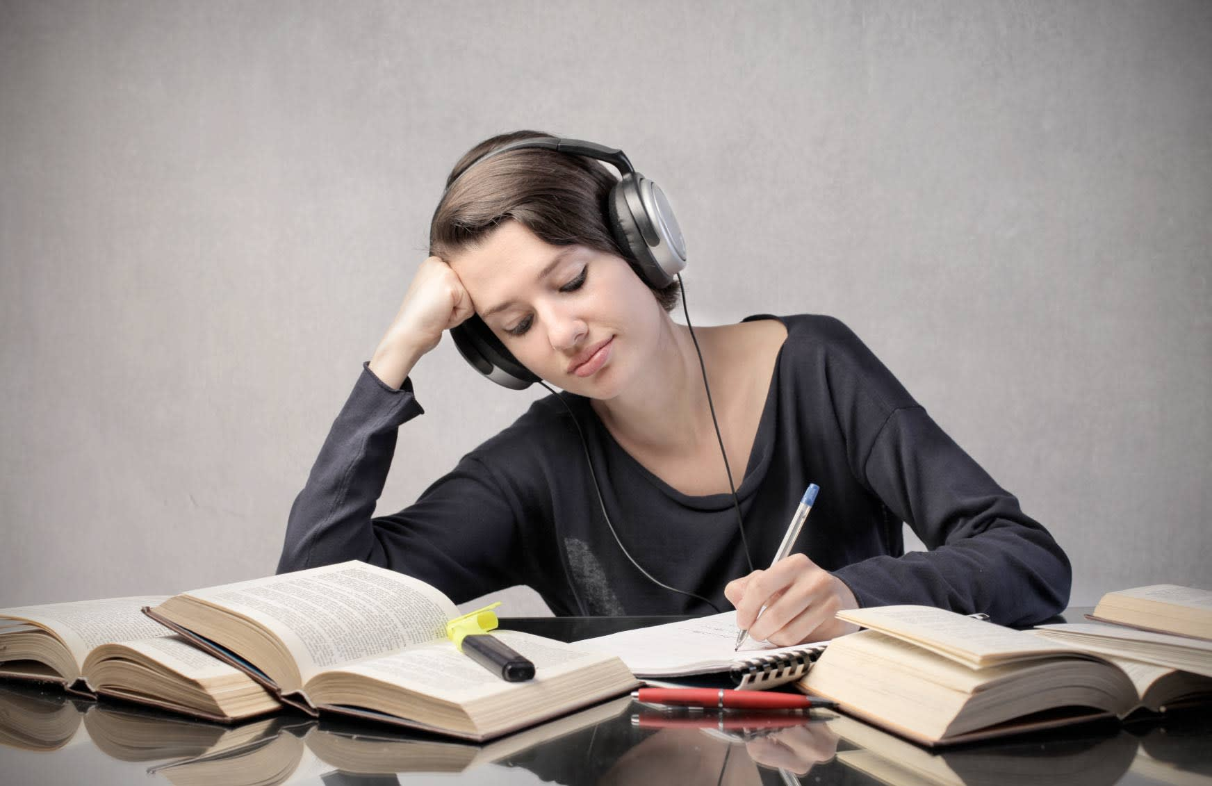 Image result for listening to music while writing