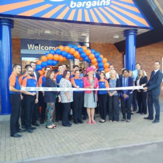 Staff at the new B&M Bargains store at Millbrook, Southampton are joined by Mayor Linda Norris and local charity The Rainbow Group at the store's opening ceremony.