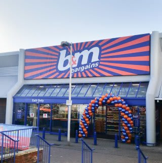 B&M Bexhill store front and entrance.