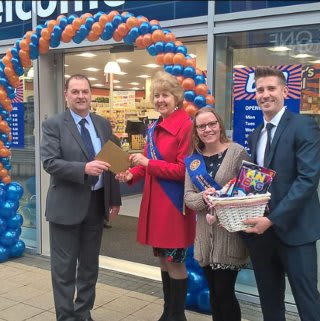 Shirley store being opened by the Mayor and Solihull Children who raise money for Charity gratefully received £250 worth of B&M vouchers.