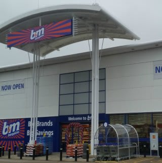 The outside of B&M Beckton, East London