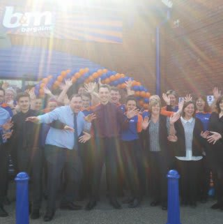 The new store team celebrating opening day at B&M Braintree.