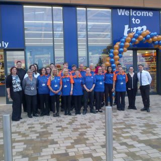 The new B&M colleagues at B&M Port Glasgow on opining day.