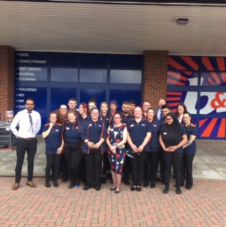 The store team at B&M's newest store in Huntingdon pose in front of their wonderful new Home Store & Garden Centre, located at Huntingdon Retail Park.