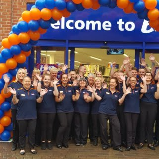 The store team at B&M's newest store in Redcar pose in front of their wonderful new B&M Store, located on Regent Walk.