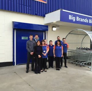 The staff of B&M Hucknall on opening day of the relaunched Bargains store.