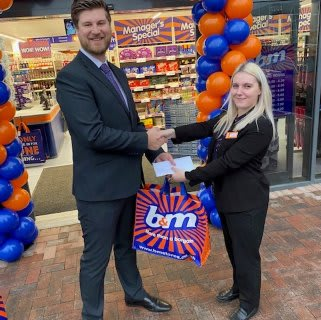 B&M store staff were delighted to welcome local charity Newlife Cannock. The charity received £250 worth of B&M vouchers for taking part in B&M's special day.