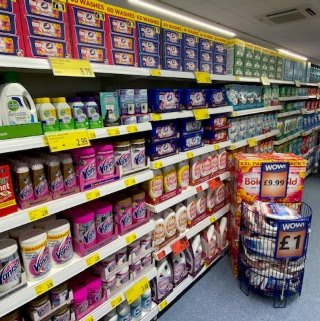 B&M's brand new store in Hednesford stocks a huge range of cleaning products, from the biggest brands like Daz, Ariel, Comfort, Fairy and many more.