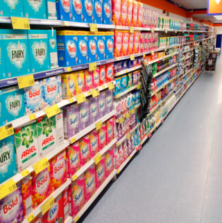 A look at B&M Blackpool's cleaning range, featuring big household brands like Fairy and Surf at low prices.