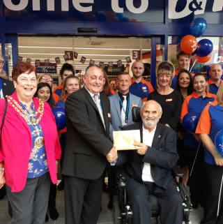Gordon from local charity Darlington Association for Disability was B&M's VIP guest at the opening ceremony of its latest store opening. Gordon received £250 worth of B&M vouchers as a thank you for taking part.