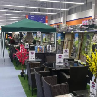 The range of garden products on display in B&M Westwood