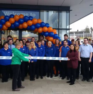 B&M Westwood being officially opened by Cynthia Cherry, Northern Ireland Regional Co-ordinator for Macmillan Cancer Care, who also received £250 worth of B&M vouchers.