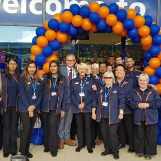 The store team at B&M's newest store in Sheldon pose in front of their wonderful new B&M Store, located on Coventry Road.