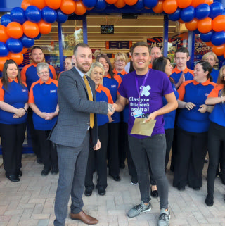 Glasgow Children's Hospital Charity were invited to take part in the official opening of B&M's newest store at Glasgow Fort, Auchinlea Way. Representatives from the charity received £250 worth of B&M vouchers as a thank you for taking part.
