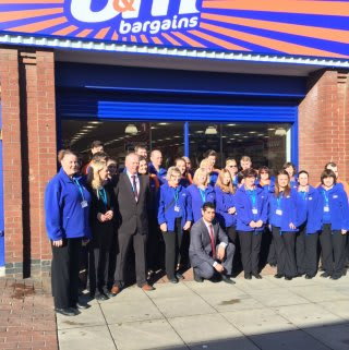 Store pose in front of their brand new B&M Bargains Store in Normanton