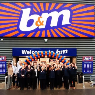 The store team at B&M's newly refurbished store in Derby pose in front of their wonderful new Home Store, located on Ascot Drive.