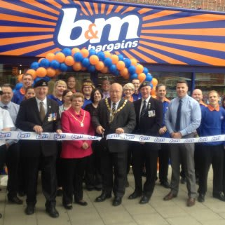 Lord Mayor of King's Lynn, Councillor David Whitby and Mrs Linda Whitby we're B&M's special guests for the day. Lord Mayor Whitby cut the ribbon at the opening, while Mike Taylor -representing local charity Bridge for Heroes- received £250 worth of B&M vouchers.
