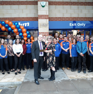 Jane from local charity Springboard was B&M Hathaway Retail Park's VIP guest at its store opening. She received £250 worth of B&M vouchers on behalf of the charity.