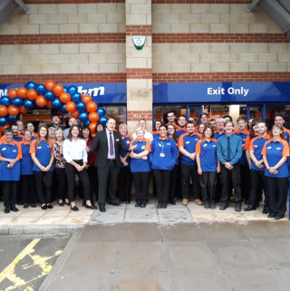 The Store Team at B&M's new Chippenham store at Hathaway Retail Park celebrate their first day of trade.