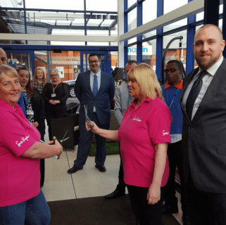 Representatives from the Sue Ryder Charity we're B&M's VIP guests, cutting the ribbon to officially open the new store at the Castle Retail Park, Nottingham.