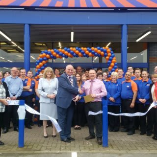 Deputy Mayor and Mayoress, Councillor Keith Sharp and Miss Christine Wilson were B&M's special guests for the day, cutting the ribbon at the new Peterborough store.