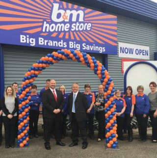 B&M Boston's staff stand proudly outside their brand new Home Store on the Alban Retail Park, Grantham Road
