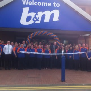 The new staff at B&M Walsall Wood, standing outside their new store.