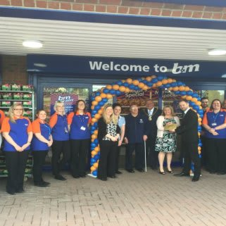 Representatives of Hull and East Yorkshire Royal Institute for the Blind is joined by Councillor Peter Turner who officially opened the new Willerby store.