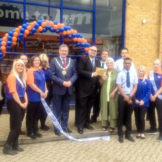Chelmsford store opened by Mayor of Chelmsford Paul Hutchinson and Pat Wilson from the Local community radio station (for the blind and partially sighted) which we have gratefully donated £250 of B&M vouchers.
