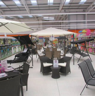 A look inside B&M Slough, on Montrose Avenue. Garden and outdoor furniture range.