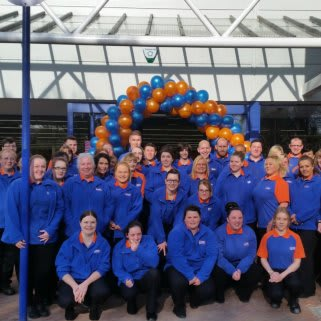 The B&M Neath store team pose in front of their new Home Store & Garden Centre on Riverside Drive.