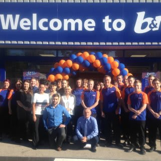 B&M Sunderland, Ryhope Road store team pose in front of their brand new Home Store & Garden Centre