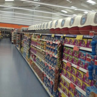 The wide selection of pet products inside B&M Pembroke Dock.