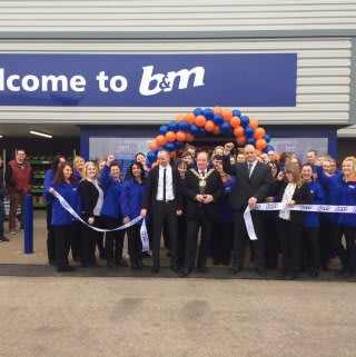 B&M Ashton under Lyne - Snipe Retail Park Homestore being officially opened by the Mayor of Ashton under Lyne, Councillor Phillip Fitzpatrick.