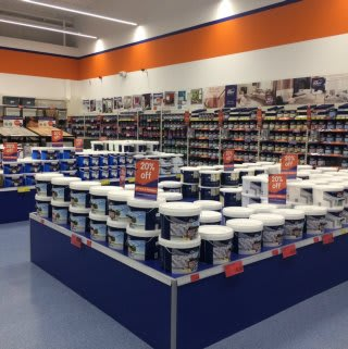 Paint display at B&M's new Burton-on-Trent store