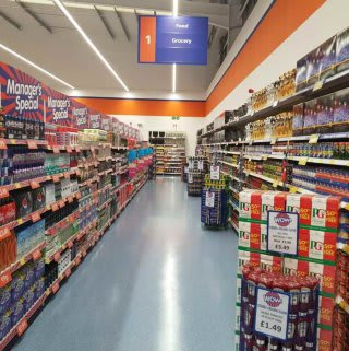 The 1st Aisle of B&M Anglia, ready for shoppers to browse on opening day.