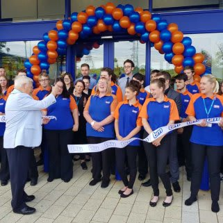 B&M Anglia being formally opened by Deputy Mayor Roger Fern along with representatives from the Lighthouse Women's Aid.