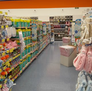 A glimpse down the Baby aisle of B&M's new store in Baglan Bay, Port Talbot.
