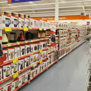 A glimpse down the Electrical aisle of B&M's new store in Baglan Bay, Port Talbot.