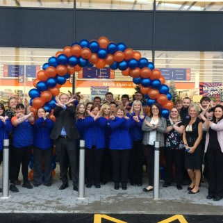 The B&M Cross Hands store team celebrate the opening of their new store at Cross Hands Business Park, Llanelli.