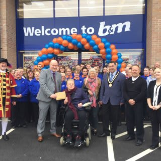 B&M Skegness hosted very special guests from the Ryan Smith Foundation on opening day. Representatives from the charity received £250 worth of B&M vouchers as a thank you for taking part.