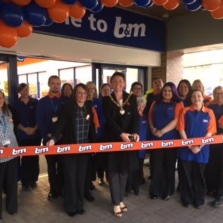 Local mayor, Cllr Jill Green cuts the ribbon at B&M's newest store in Birtley, Tyne & Wear.