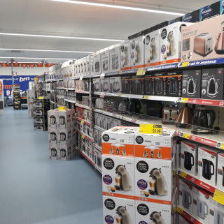 B&M's Tonbridge store stocks a huge range of electrical appliances, from kettles and microwaves to speakers and TVs.