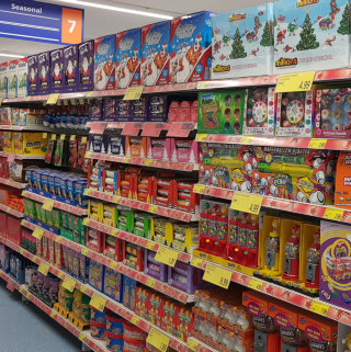 B&M's new Stone store stocks a varied range of big brand confectionery, perfect for the festive period. Browse Cadbury, Mars, Nestle and much more!