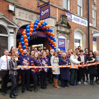 B&M's newest store opened in Stone, Staffordshire with local Cllr Kristen Green and Karen form local charity Stone Community Hub cutting the ribbon.