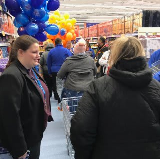 The first customers at B&M's newest store in Dagenham - located at Merrielands Retail Park - get their first glimpse of the long-awaited B&M store.