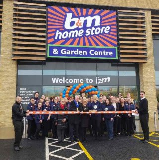 B&M's newest store opened at Canvey Island Retail Park, with Deputy Lord Mayor Alan Acotts and a representative from local charity The Danny Green Fund cutting the ribbon.