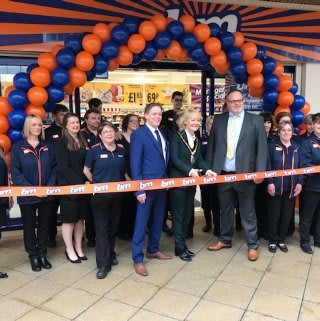 Store staff at B&M's new store in Newmarket were delighted to welcome local mayor, Councillor Rachel Hood and Richard Smith from Newmarket Town F.C, who cut the ribbon to officially open the store.
