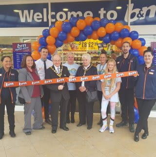 Store staff at B&M's new store in Heywood were delighted to welcome local mayor, Councillor Billy Sheerin who cut the ribbon to officially open the store. Local charity Trewan Sands Children's Trust joined the mayor as special guests for the morning, receiving £250 in B&M vouchers as a thank you for their hard work in the community.